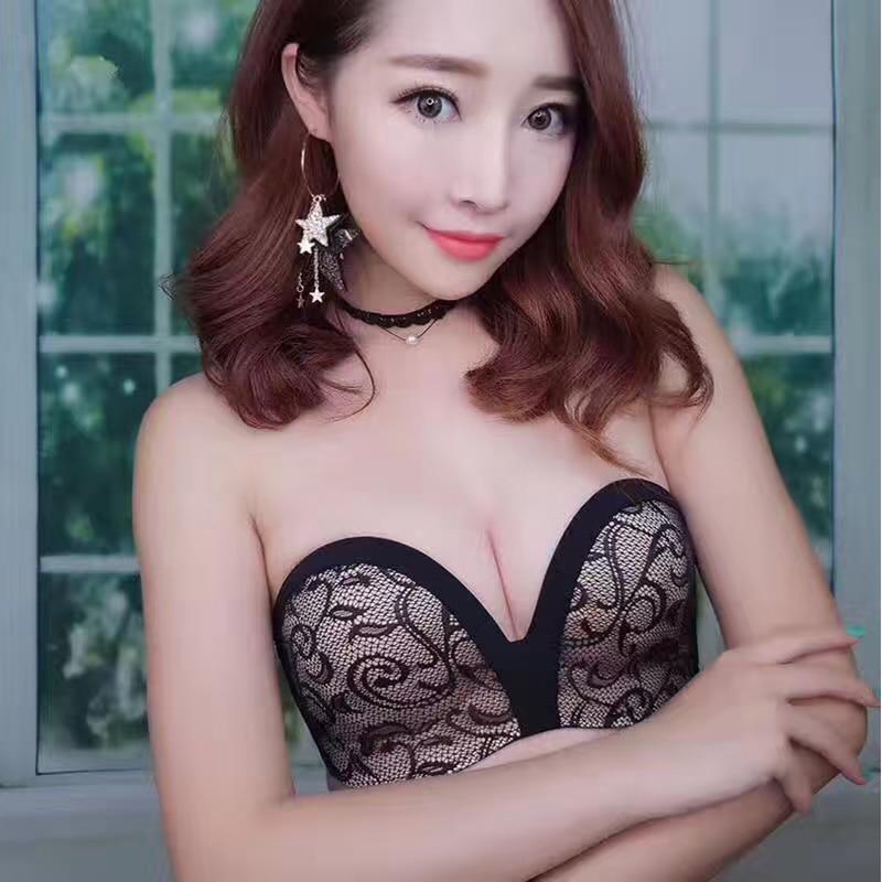 YICUI Women's Invisible strapless Bra Clothes Non-slip Underwear Half Cup Brush bra