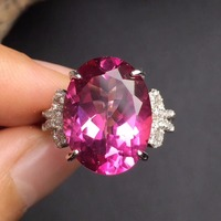 Fine Jewelry Real 925 Sterling Silver 100 Natural Pink Topaz Ring Promise Female Rings Womens Rings