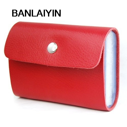 Red Premium Leather Wallets Credit Card Holder ID Business Case Purse Unisex ...