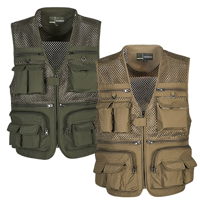 Outdoor Men Camping Hunting Fishing Hiking Vest Amphibious Multi Pockets Tactical Vest Multi-pocket Mesh Breathable Clothes tactical vest men training cs tactical breathable men hiking vest outdoor sport military hunting shooting vest men hmt0034 5