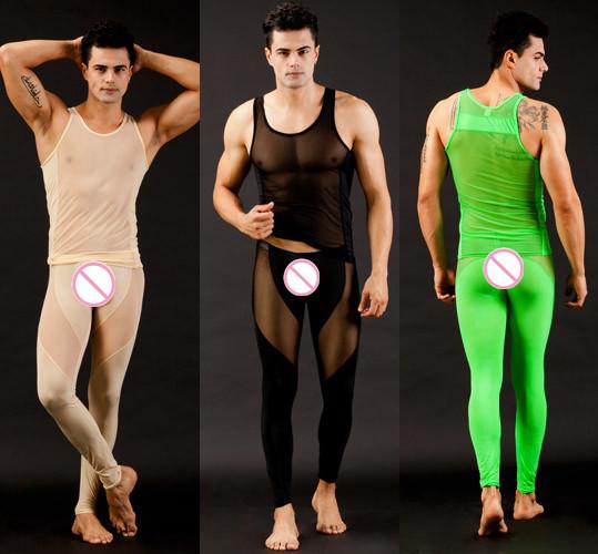 Ropa Interior de los hombres Genuinos WJ Calzoncillos Largos Fina Tela Super U Convexa Diseño Sexy Fitness Set (para Un Conjunto)