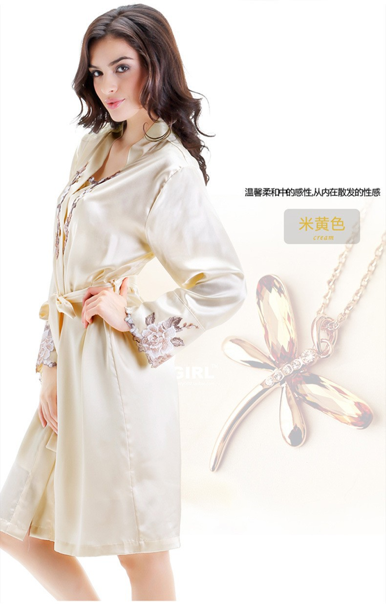 Beige Silk Robes and Nightgowns Two Piece Sets for Women Satin Sleepwear