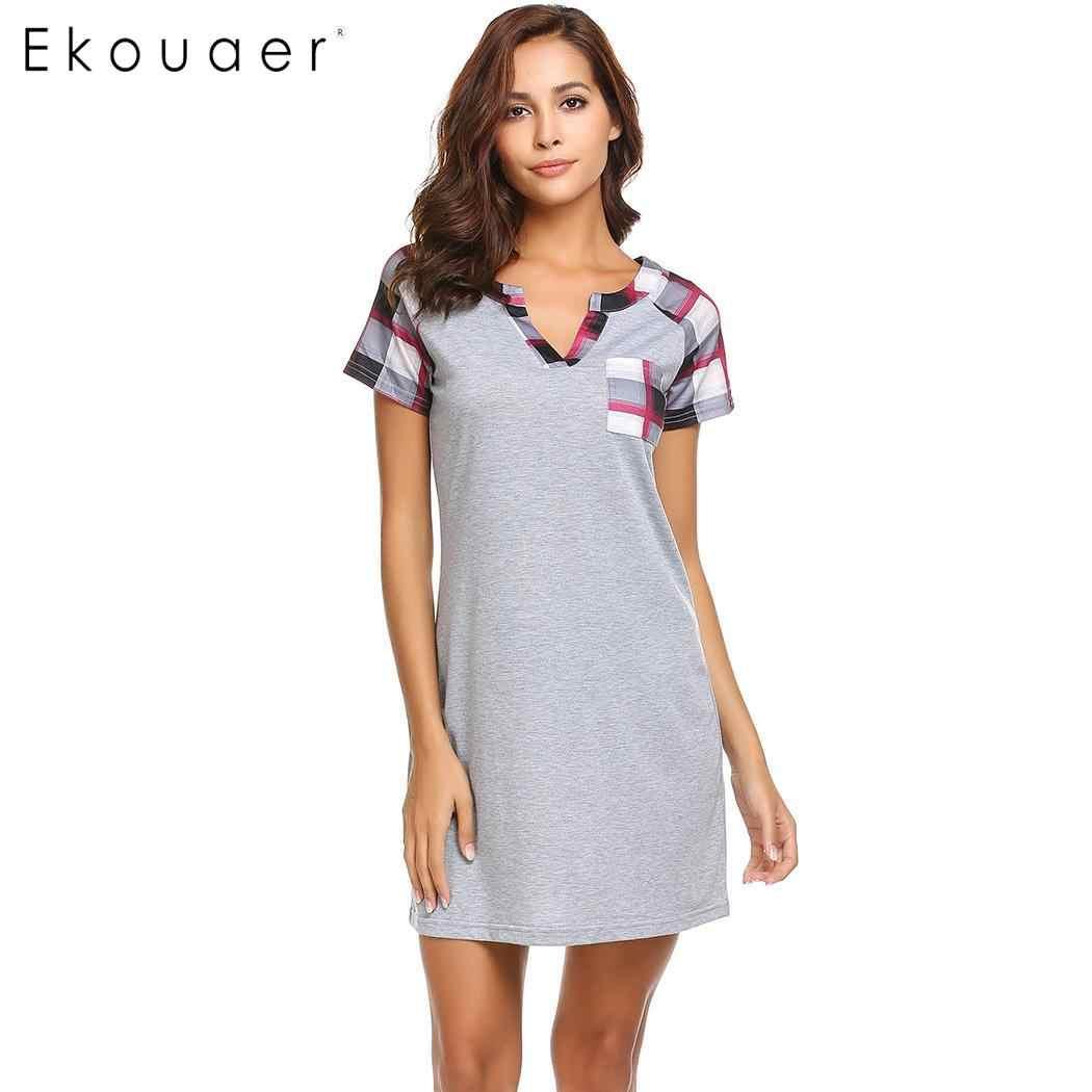 Ekouaer Nữ Váy Ngủ Áo Váy Ngủ Kẻ Sọc Nữ Tay Ngắn Nightshirts Cổ Chữ V Rời Đồ Ngủ Nữ Chemise Đầm Nhà Vải