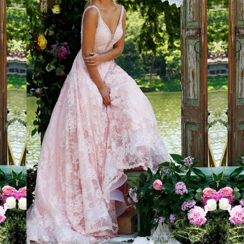 Weddings & Events Light Pink A Line Long Lace V Neck Engagement And Reception Prom Dresses With Illusion Inset And Beaded Belt And Waist To Help Digest Greasy Food