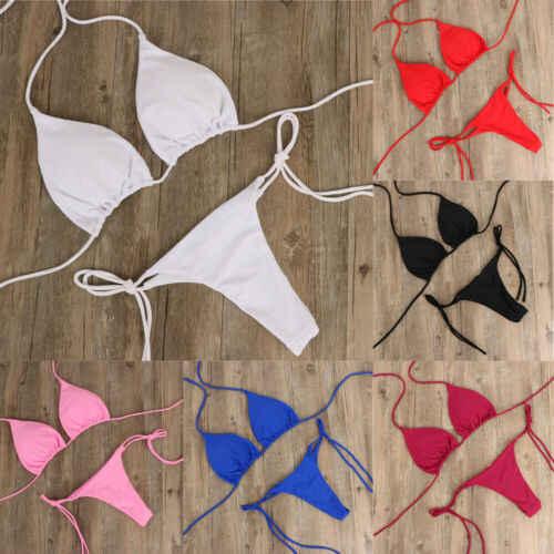 2 sztuk Sexy kobiety lato stroje kąpielowe Bikini zestaw biustonosz krawat boczne stringi stringi plaży trójkąt garnitur strój kąpielowy strój kąpielowy