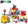 Iblocks ciudad enlighten bricks figuras de ingeniería de camiones grandes bloques compatibles con duplo 2-6 niños juguetes educativos