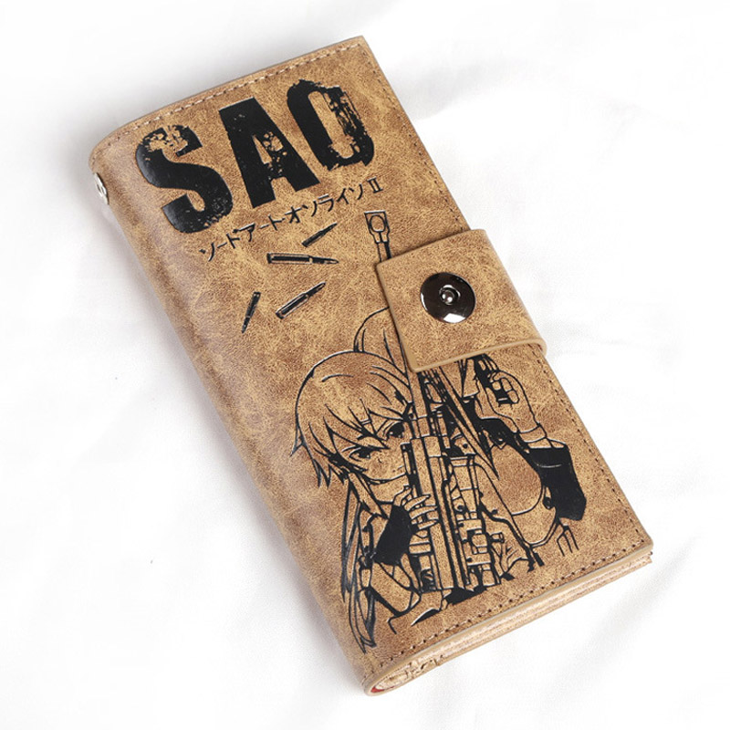 Sword Art Online Kirigaya Kazuto Long Purse Yuuki Asuna Multi-card bit Khaki Button Wallet of Gift