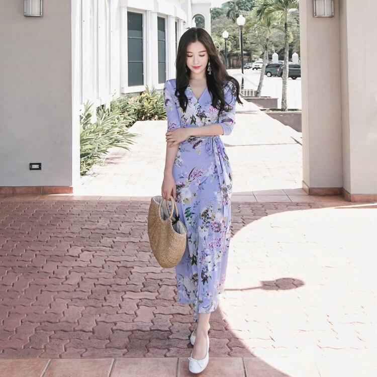 Bleu V Femmes D'été Neck Dames Wrap Long Robe 2018 Efatzp Maxi Longo Portefeuille x54wYdaq
