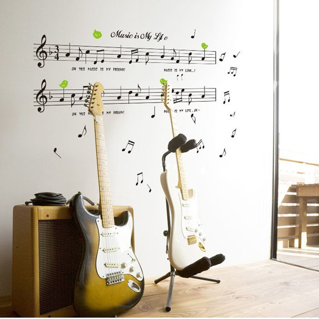 AY7106 Staff Notes Music Classroom Nursery School Piano Instrument Room Bedroom Childrens Wall Sticker