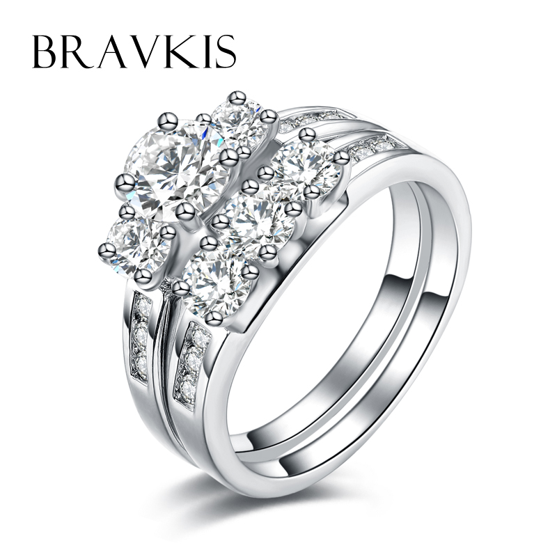 BRAVKIS wedding bridal ring sets cz crystal rings band zircon engagement double 2 ring bands set