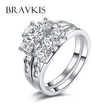 BRAVKIS boda nupcial conjuntos de anillo de cristal de la cz anillos band zircon doble 2 bandas anillo de compromiso fijado para las mujeres brinco bijoux BUR0344