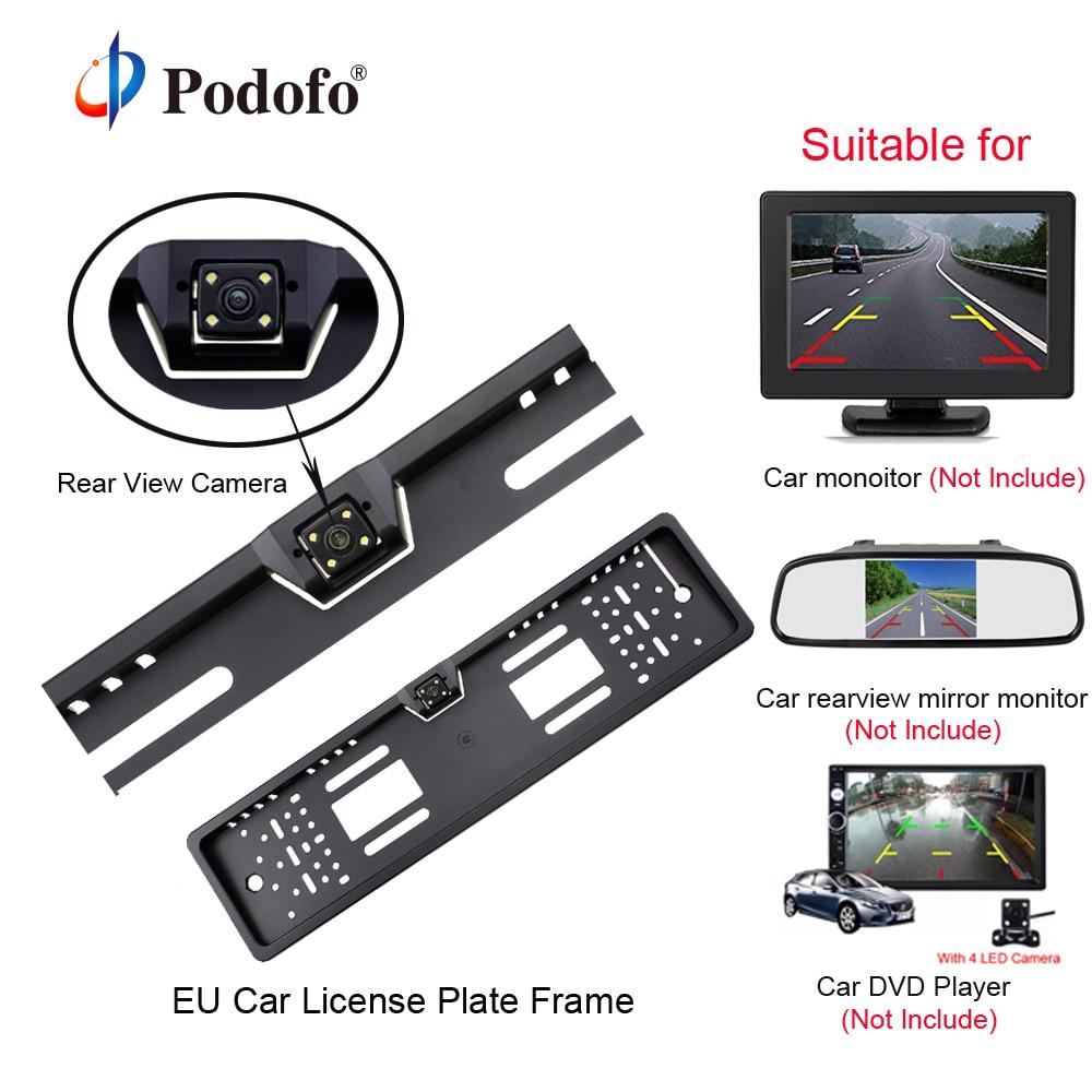 Podofo Auto Achteruitrijcamera Waterdichte EU Europese Nummerplaat Frame Parktronic Reverse 4 LED Night Vision Backup Camera
