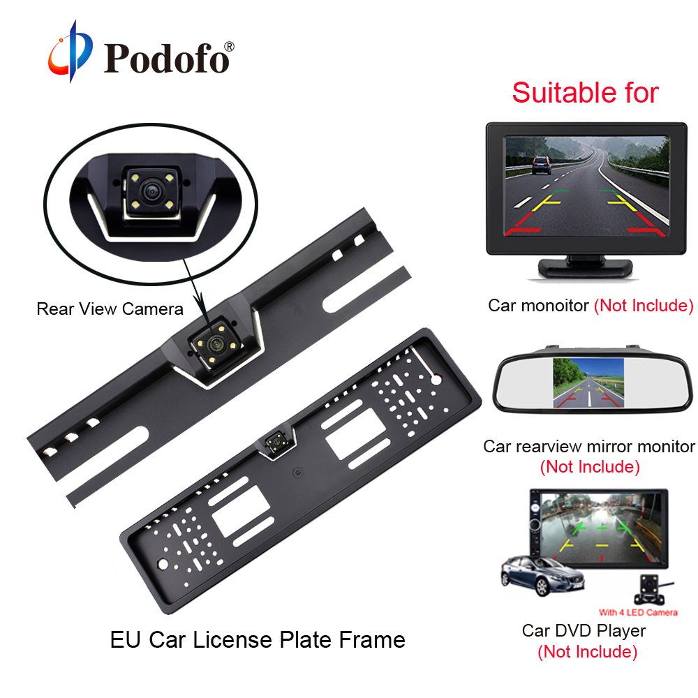 Podofo Car Rear View Camera Waterproof EU European License Plate Frame Parktronic Reverse 4 LED Night Vision Backup Camera