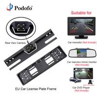 Podofo Car Rear View Camera Waterproof EU European License Plate Frame Parktronic Reverse 4 LED Night