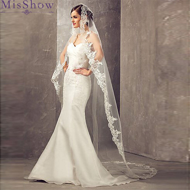 2019 White/Ivory Wedding Veil With Comb 2.7 M Long Lace Edge Mantilla Cathedral Bridal Veil Wedding Accessories Veu De Noiva