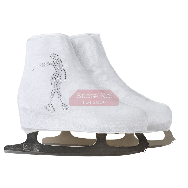 24 Colors Child Adult Velvet Ice Skating Figure Skating Shoes Cover Roller Skate Fabric Accessories White Skater 3 Rhinestone 16