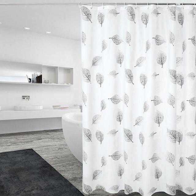 Shower Curtain With Hooks Anti Mold Bathroom Print Bacterial PEVA Waterproof Leaves Drop