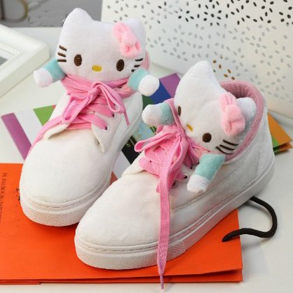 16d3d872c Hello kitty sweety white and pink adult suede flat casual sneakers cute  girls women lace up fashion shoes free shipping H1056-in Fitness &  Cross-training ...