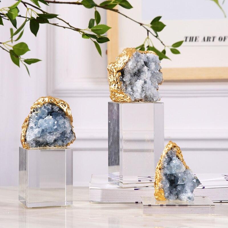 Роскошный натуральный агат камень домашний Декор Аксессуары Статуэтка орнамент офис кристалл гостиная декоративные статуи подарок
