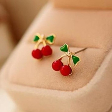 New style Free shipping Jewellery Wholesale Fashion Retro Red Korean Style Metal Cherry Stud Earrings for women
