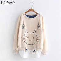 Woherb 2019 Kawaii Japanese Hoodies Women Loose Thick Sweatshirt White Shirt Patch Sweet Animal Cat Embroidery Winter Tops 20460