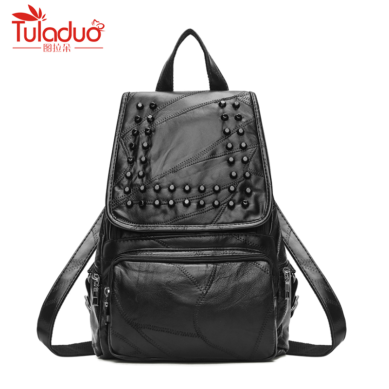 High Quality PU Leather Women Backpacks For Teenage Girls School Bag 2018 Woman Backpack Designer Fashion Rivet Ladies Rucksack rockdale 3323