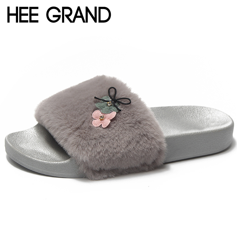 HEE GRAND Fur Slippers Platform Shoes Woman 2018 Creepers Winter Slides Casual Flats Slip On Women Shoes Candy Colors XWT1361