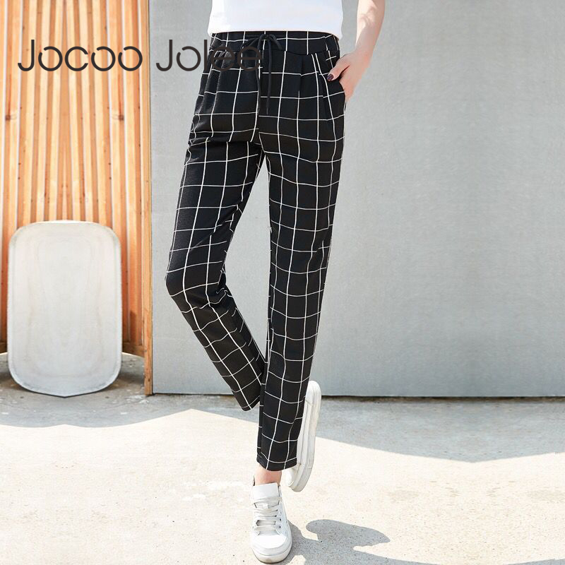 Jocoo Jolee 2019 Women Summer   Wide     Leg     Pants   Casual Loose High Elastic Waist Harem   Pants   with Belt Striped Trousers Plus Size