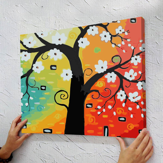 with frame diy oil painting by numbers kits tree landscape wall decor picture painting on canvas - Home Decor Paintings
