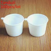 Tanduzi 100 個卸売かわいい白プラスチックミニチュアカップ日本デコ部品模造食品偽アイスクリームカッププラスチック工芸品