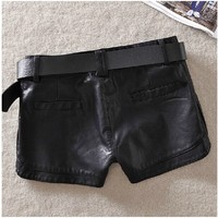 The New Low Ms Sexy Qiu Dong Pu Leather Shorts Waist Slim Pants Washed Leather Pants