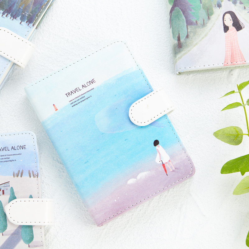Cute Kawaii Stationery Leather Notebook Blank colour pages Sketchbook Hand Books Diary Planner Agenda Journal Travelers Notebook