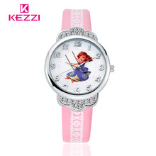 2016 Nouvelle Forme Couronne Conception SOFIA Princesse Intelligente Fille de Bande Dessinée Kid Montre Printting En Cuir Quartz Enfants Montre-Bracelet KEZZI 1371