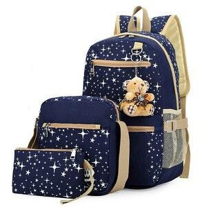 Image 1 - 3 adet/takım kadın sırt çantası okul çantaları yıldız baskı sevimli sırt çantaları ayı ile gençler kızlar için seyahat çantası sırt çantaları Mochila