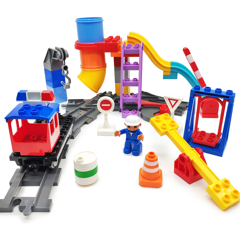 Большие строительные блоки слайд-лестница железнодорожные кирпичи качели аксессуары Дети DIY творческие игрушки совместим с Duplo частей город наборы подарок