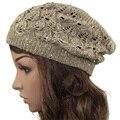2016 Mulheres Brilhante Lantejoulas Crochet Trançado Knit Boina Gorro Folgado Gorro de esqui Chapéu chapéu do Verão Chapéu Primavera Outono chapéus Moda Cap