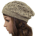 2016 Women Bright Sequins Crochet Braided Knit Beret Baggy Beanie Ski Cap Hat Summer hat Spring Hat Autumn hats Fashion Cap