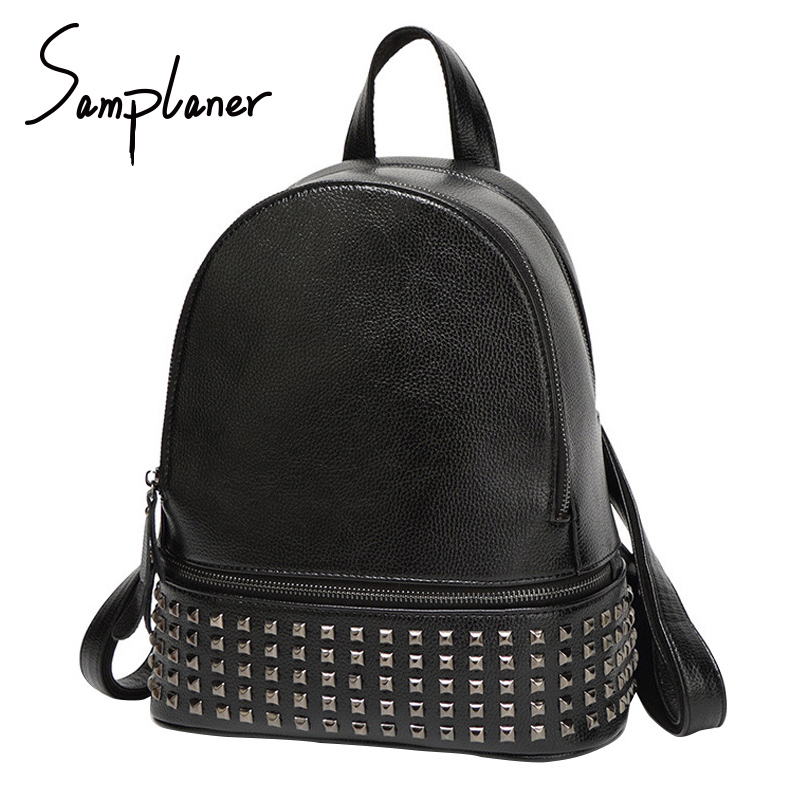 Fashion Rivet Backpacks Women Rucksacks Leather 2017 Brand Large School Bag for Teenagers Girls Casual Ladies Backpack Daypack