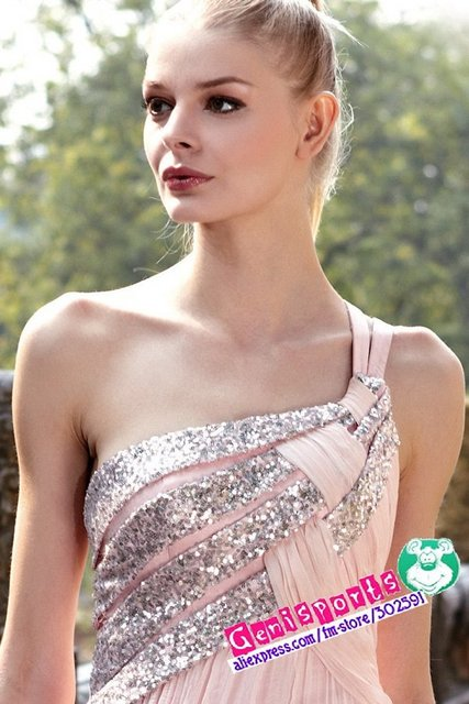 Pink Chiffon One Shoulder Party Dresses Satin Free Shipping /MOQ:1 PC