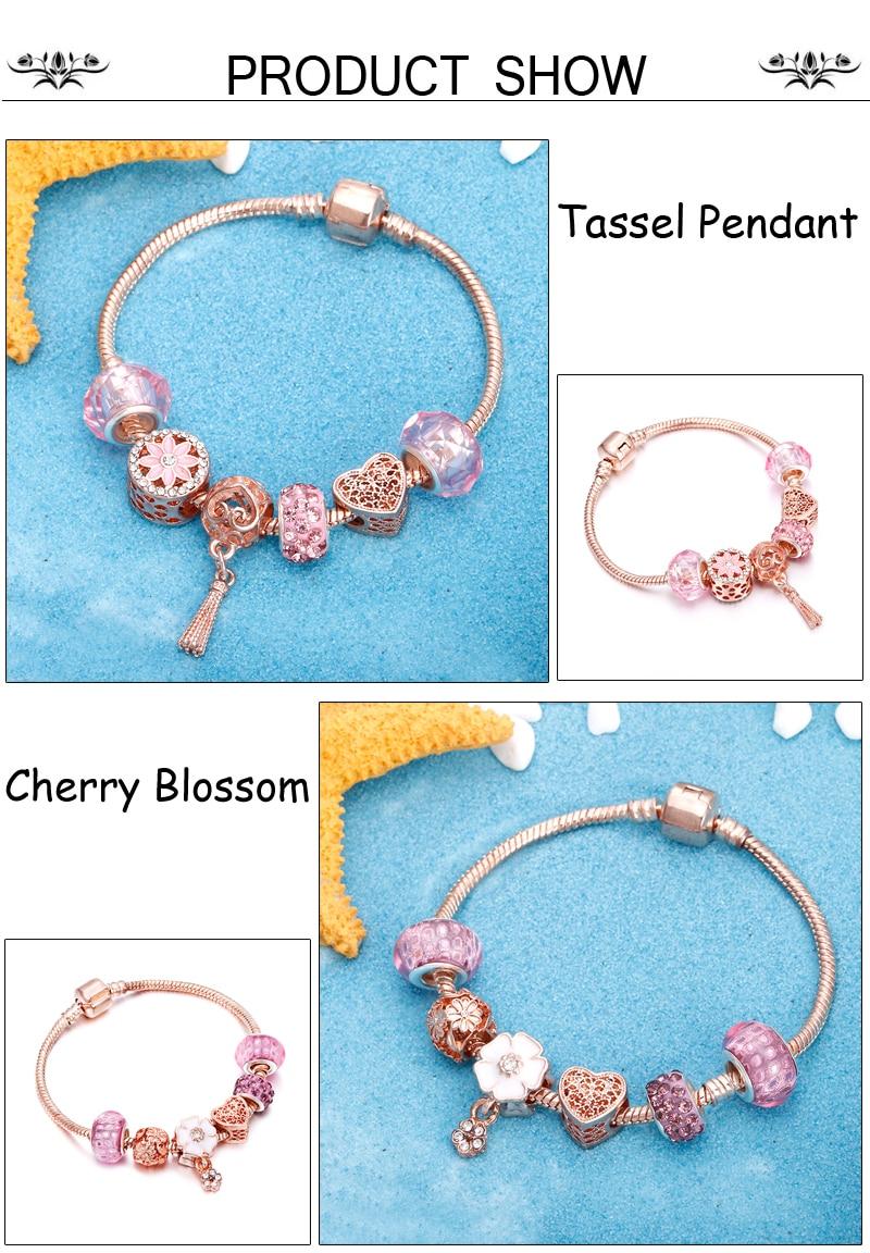 Rose Gold Bracelet Cherry Blossom Tassel Ball Crystal Bead Pendant Charm Trend Bracelets & Bangles For Women Jewelry Girl Gifts 3