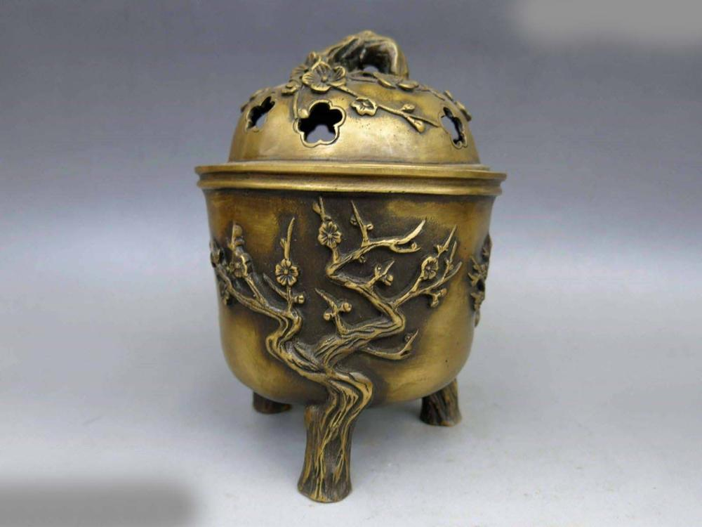 DS China Brass Copper Carved Fine Three Plum Tree Incense Burner Censer Statue