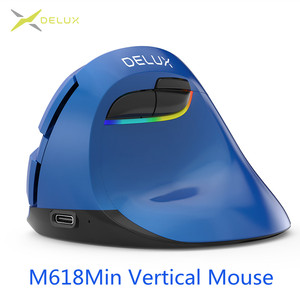 Image 2 - Delux M618 Mini Wireless Vertical Mouse Ergonomic Mouse 4.0 Bluetooth 2.4GHz 4 Gear DPI RGB Rechargeable Silent click Mice for
