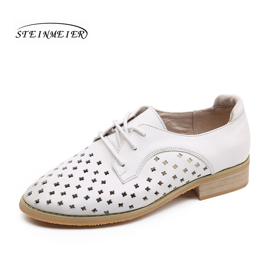 women flat summer casual shoes 100% genuine cowskin leather hollow breathable flat round toe handmade retro brogue white shoes-in Women's Flats from Shoes    1