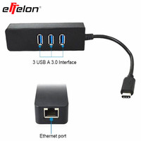 effelon Type-c Hub 3 Port with RJ45 LAN Adapter type C to USB 3.0 OTG with Ethernet Network LAN Adapter For Macbook Air