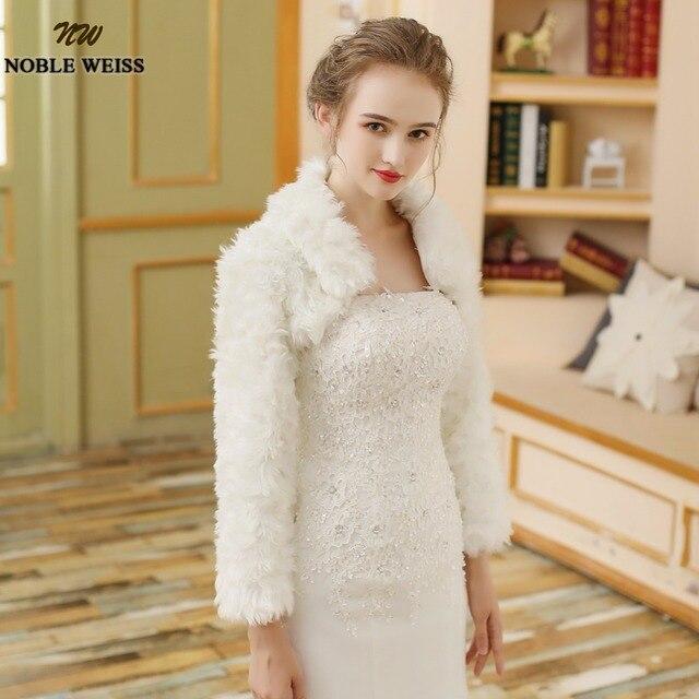 Women Winter frizzled faux fur Long Sleeve wedding jacket bolero ...