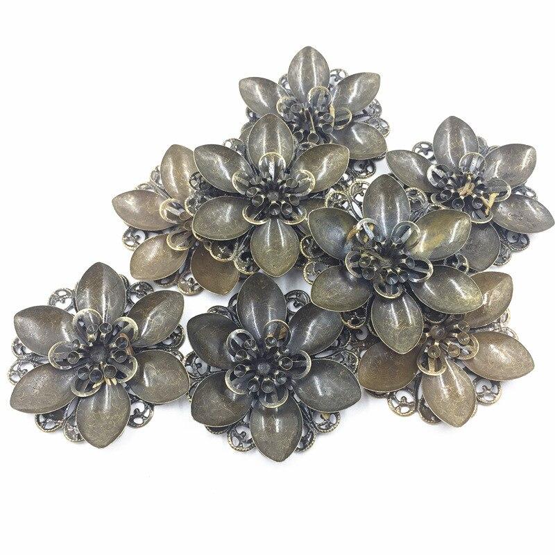 10Pcs Bronze Tone Scrapbook Embellishments Connectors Wraps Filigree Plat Back Flower Hollow Jewelry DIY Findings 45mm
