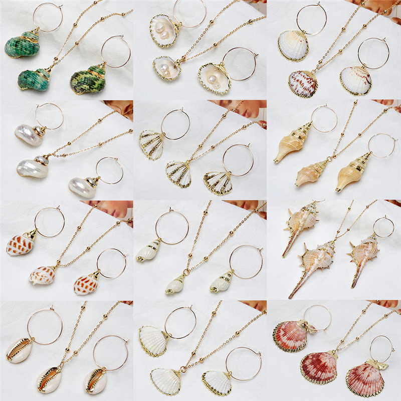 VIVILADY Natural Seashell Conch Cowrie Women Jewelry Set Unique Korea Irregular Trendy Alloy Accessories For Summer Party Bijoux
