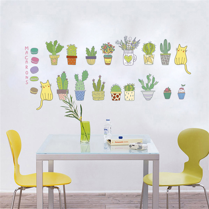 3D Vivid сад завод стены стикеры Гостиная украшения кухня стены таблички спальня Фреска Искусство декор-mail