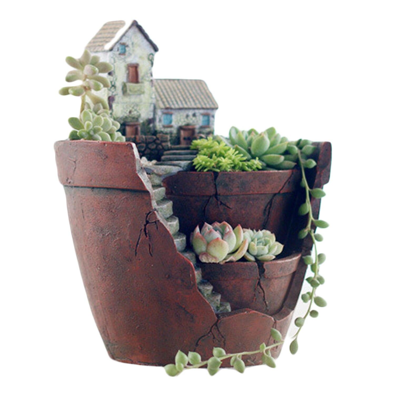 Mini fée jardin plantes fleur succulent pot planteur micro paysage jardin suspendu conception avec doux maison pour décoration c