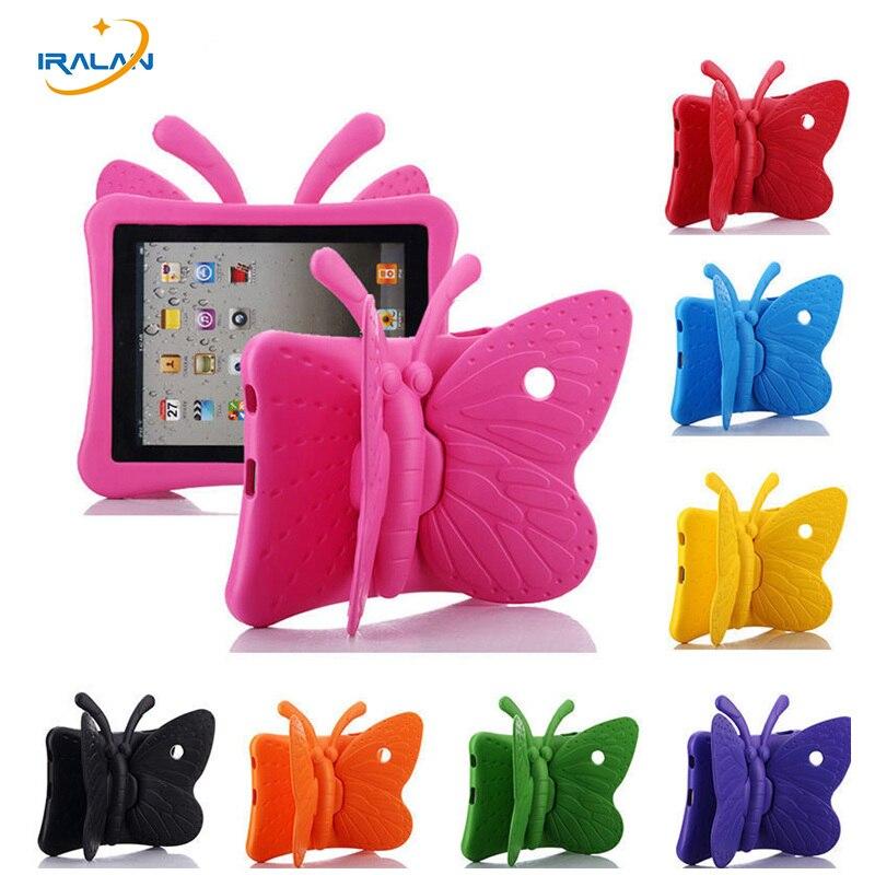 2017 heta Kids EVA 3D Butterfly Tablet Gummi Etui till Apple iPad 2 3 4 9,7 tums ShockProof Stativskydd med handtag Söt + Stylus